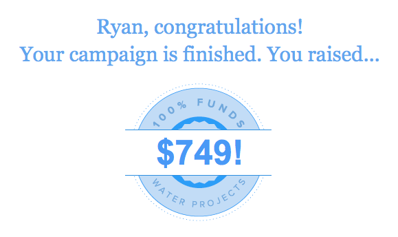 Your campaign is finished. You raised $749
