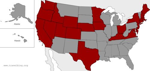 States I've visited - Nov. 2009